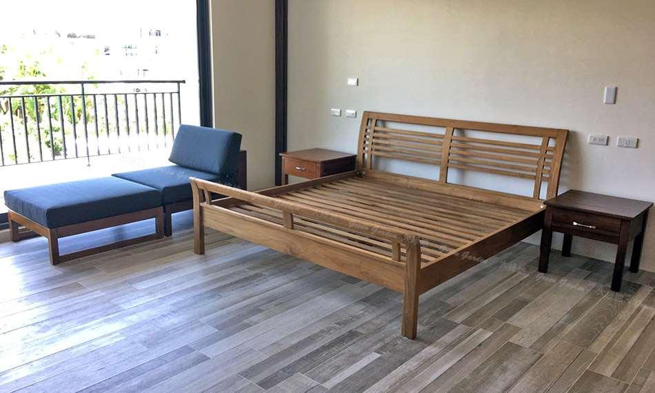 西堤柚木床架