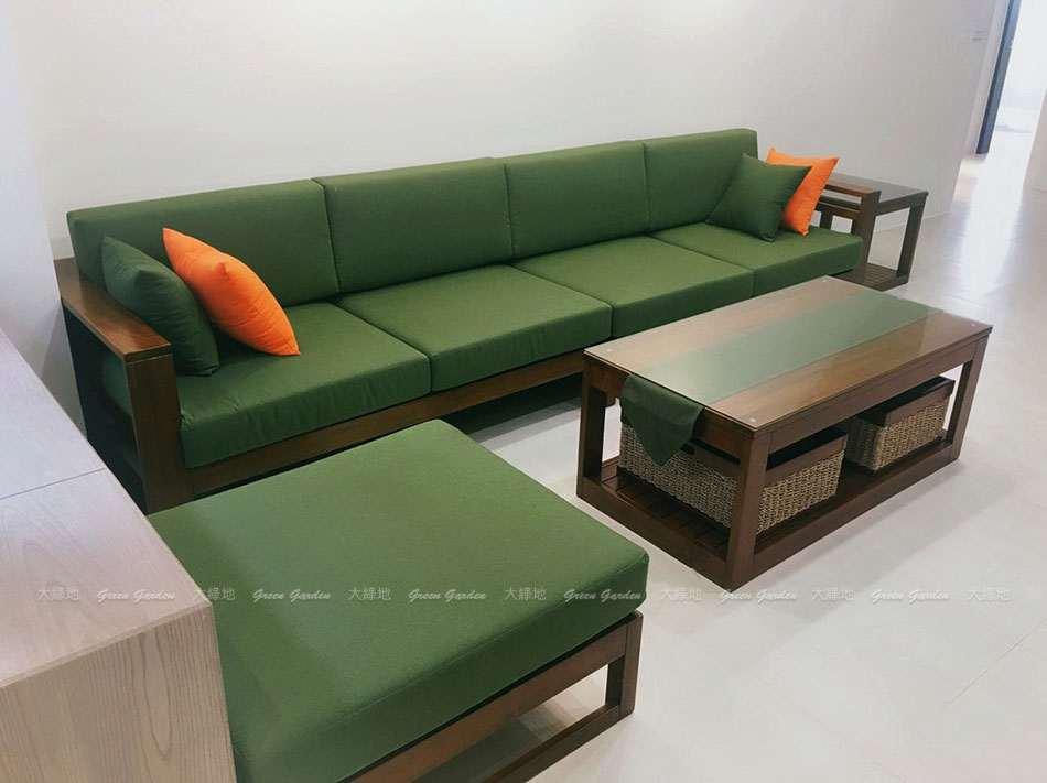 柚木沙發&橄欖綠椅墊