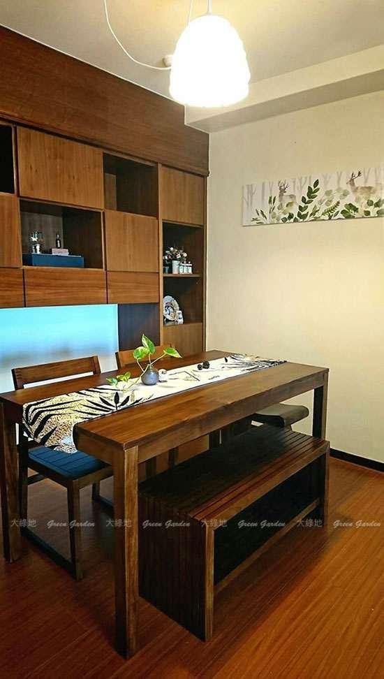 長型柚木餐桌椅組