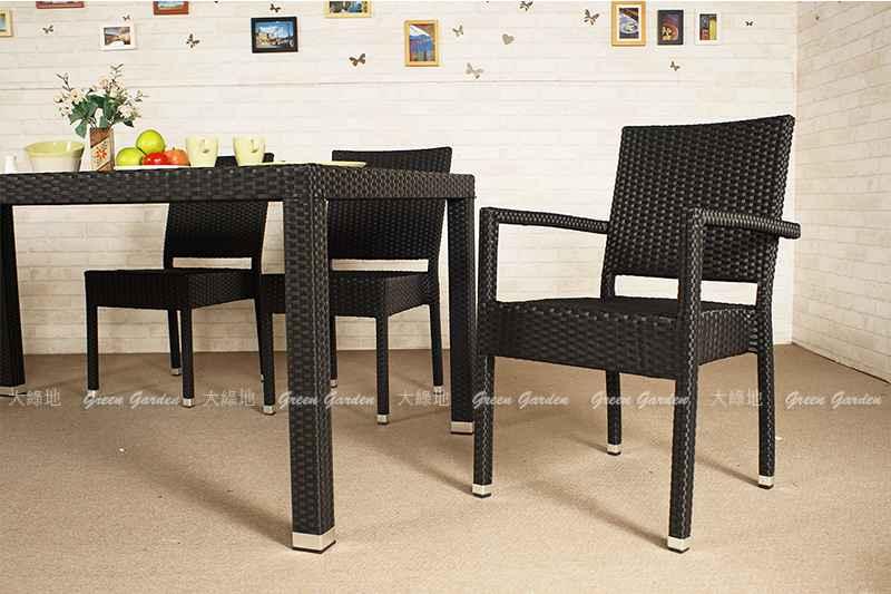 深黑藤餐桌椅組