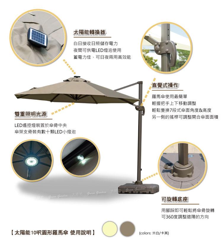 太陽能10呎圓形羅馬傘